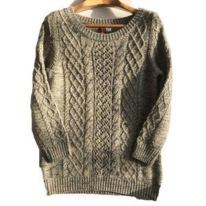 H&M Beige Sweater Long Chunky Cable Knit  Women 12